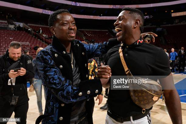 Michael Blackson and Antonio Brown attend the game between the Miami Heat and the Philadelphia 76ers in Game Two of Round One of the 2018 NBA...