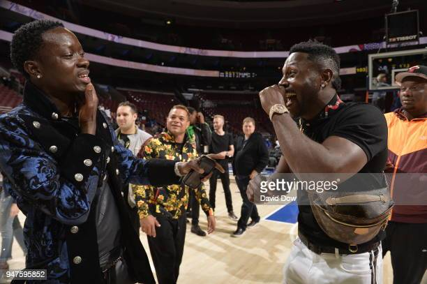 Michael Blackson and Antonio Brown speak after the game between Miami Heat and Philadelphia 76ers in Game Two of Round One of the 2018 NBA Playoffs...