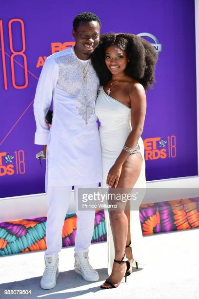 Michael Blackson and Georgia Reign arrive to the 2018 BET Awards held at Microsoft Theater on June 24 2018 in Los Angeles California