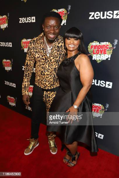 Michael Blackson and Tokyo Toni attend Tokyo Toni's Finding Love ASAP Los Angeles premiere at AMC Theaters Universal City Walk on November 08 2019 in...