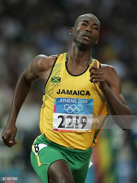 Michael Blackwood of Jamaica competes in the men's 400 metre event on August 20, 2004 during the Athens 2004 Summer Olympic Games at the Olympic...