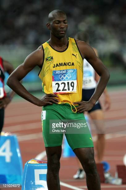 Michael Blackwood of Jamaica finishes 2nd in Semifinal 1 of the Men's 400m in a time of 44.87 in Olympic Stadium during the Athen 2004 Olympic Games...