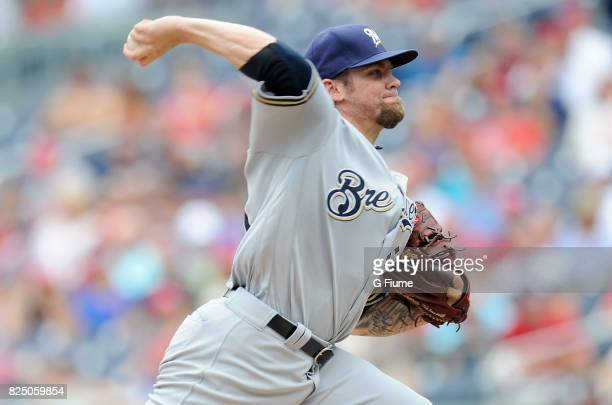 Michael Blazek of the Milwaukee Brewers pitches against the Washington Nationals at Nationals Park on July 27 2017 in Washington DC