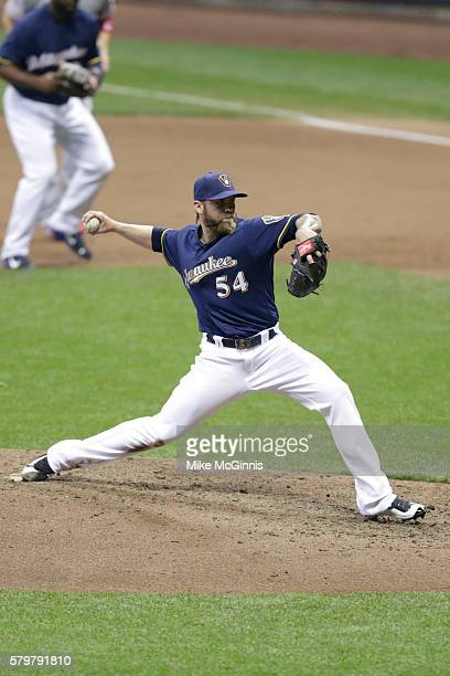 Michael Blazek of the Milwaukee Brewers pitches during the game against the Los Angeles Angels of Anaheim at Miller Park on May 03 2016 in Milwaukee...