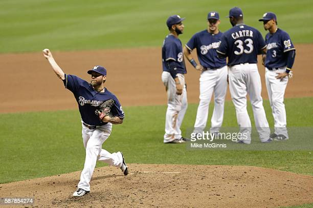 Michael Blazek of the Milwaukee Brewers pitches during the seventh inning against the Atlanta Braves at Miller Park on August 09 2016 in Milwaukee...