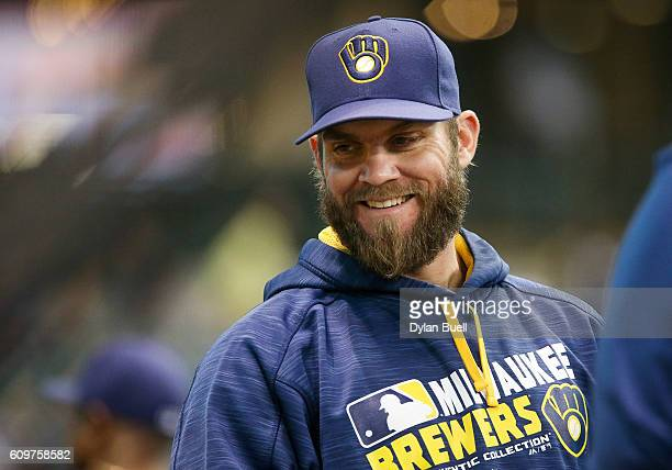 Michael Blazek of the Milwaukee Brewers sits in the dugout before the game against the Pittsburgh Pirates at Miller Park on September 20 2016 in...