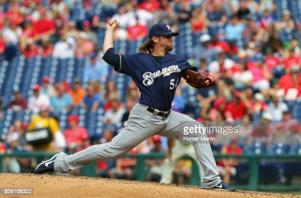 Michael Blazek of the Milwaukee Brewers throws a pitch during a game against the Philadelphia Phillies at Citizens Bank Park on July 23 2017 in...