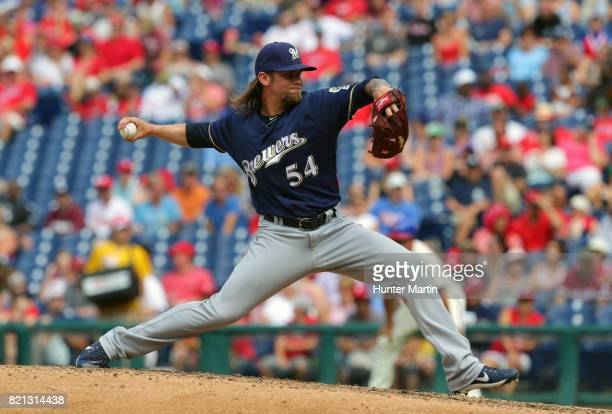 Michael Blazek of the Milwaukee Brewers throws a pitch in the fifth inning during a game against the Philadelphia Phillies at Citizens Bank Park on...