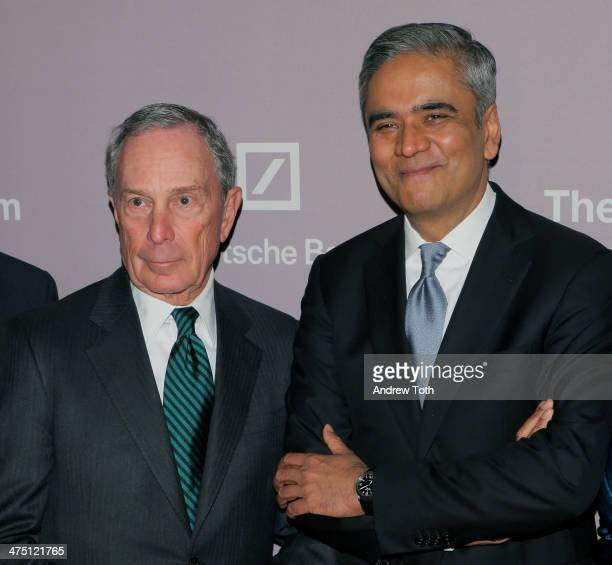 Michael Bloomberg and Deutsche Bank CEO Anshu Jain attends the Jewish Museum's Purim Ball 2014 at Park Avenue Armory on February 26 2014 in New York...