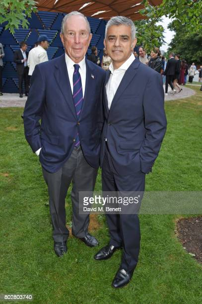 Michael Bloomberg and Mayor Of London Sadiq Khan attend The Serpentine Galleries Summer Party cohosted by Chanel at The Serpentine Gallery on June 28...