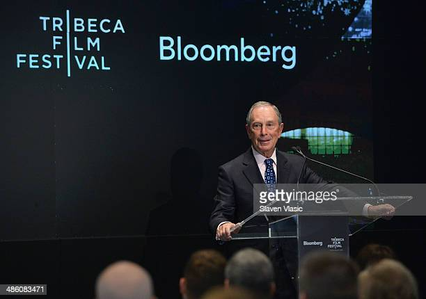 Michael Bloomberg attends Bloomberg Business of Entertainment Breakfast at Bloomberg Foundation Building on April 22 2014 in New York City