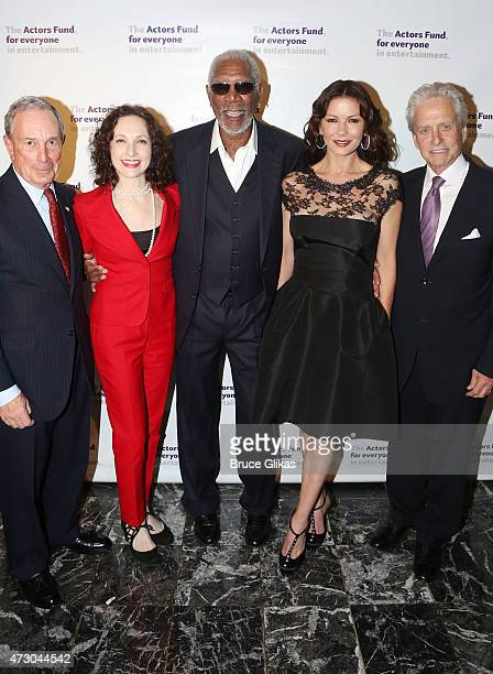 Michael Bloomberg Bebe Neuwirth Morgan Freeman Catherine ZetaJones and Michael Douglas attend The 2015 Actors Fund Gala at The New York Marriott...