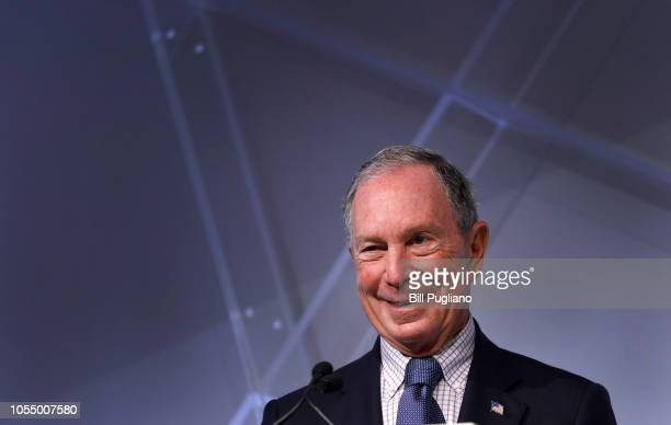 Michael Bloomberg billionaire and former Mayor of New York City speaks at CityLab Detroit a global city summit on October 29 2018 in Detroit Michigan...