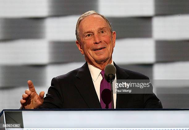 Michael Bloomberg delivers remarks on the third day of the Democratic National Convention at the Wells Fargo Center on July 27 2016 in Philadelphia...