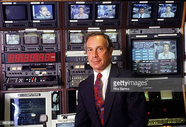 Michael Bloomberg founder and president of Bloomberg LP a communications and media company pses for a portrait at his company's television studios...