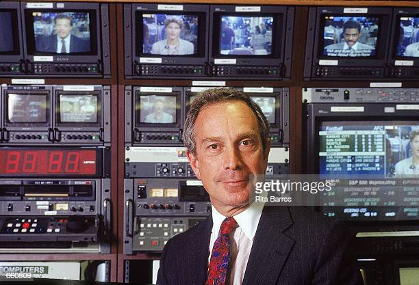 Michael Bloomberg, founder and president of Bloomberg LP, a communications and media company, poses for a portrait at his company's television...