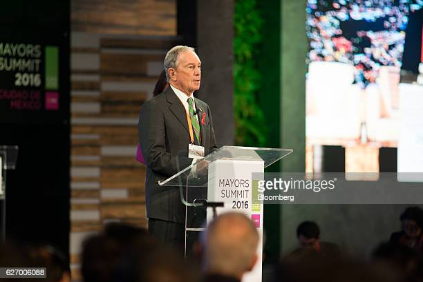 Michael Bloomberg, founder of Bloomberg LP and former mayor of New York, speaks during the C40 Mayors Summit in Mexico City, Mexico, on Thursday,...