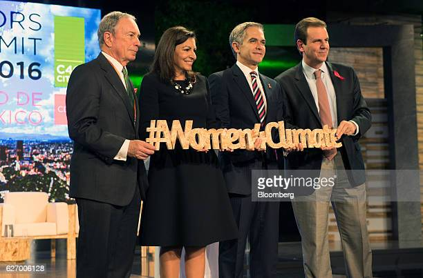 Michael Bloomberg, founder of Bloomberg LP and former mayor of New York, from left, Anne Hidalgo, mayor of Paris, Miguel Mancera, mayor of Mexico...
