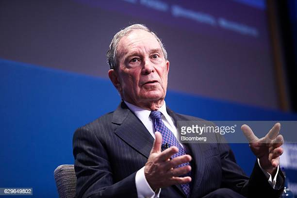 Michael Bloomberg founder of Bloomberg LP gestures while speaking during a panel session at the 10000 Small Businesses Partnership Event at Goldman...