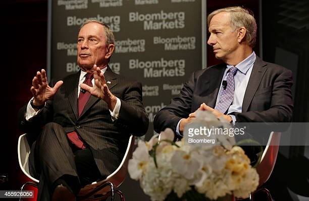 Michael Bloomberg founder of Bloomberg LP left and Ray Dalio chairman and cochief investment officer of Bridgewater Associates LP participate in a...