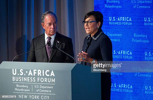 Michael Bloomberg founder of Bloomberg LP left listens as Penny Pritzker US Secretary of Commerce speaks during the USAfrica Business Forum in New...