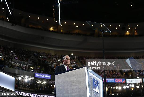 Michael Bloomberg, founder of Bloomberg LP, pauses while speaking during the Democratic National Convention in Philadelphia, Pennsylvania, U.S., on...