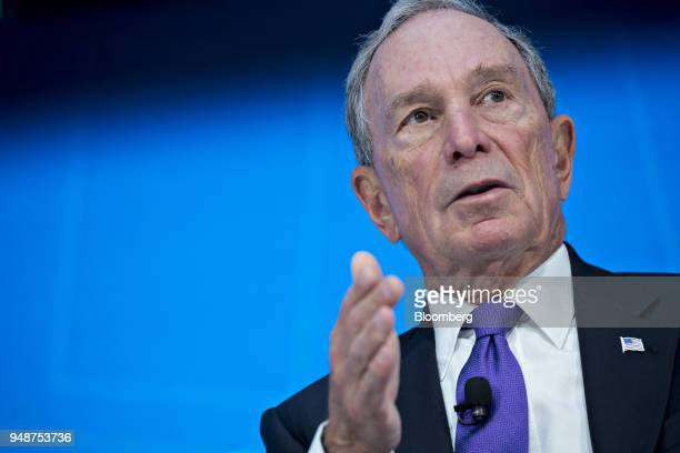 Michael Bloomberg, founder of Bloomberg LP, speaks at a discussion during the spring meetings of the International Monetary Fund and World Bank in...