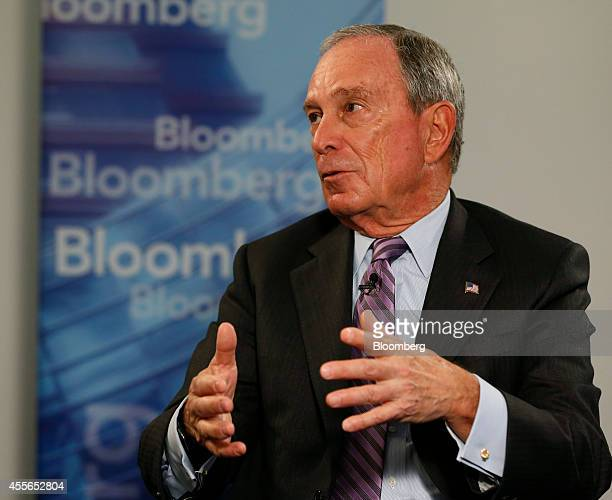 Michael Bloomberg founder of Bloomberg LP speaks during a panel discussion at a Goldman Sachs 10000 Small Businesses event in Detroit Michigan US on...