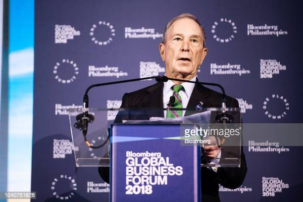 Michael Bloomberg, founder of Bloomberg LP, speaks during the Bloomberg Global Business Forum in New York, U.S., on Wednesday, Sept. 26, 2018. The...