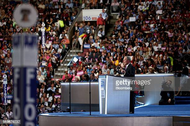 Michael Bloomberg, founder of Bloomberg LP, speaks during the Democratic National Convention in Philadelphia, Pennsylvania, U.S., on Wednesday, July...