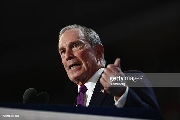 Michael Bloomberg founder of Bloomberg LP speaks during the Democratic National Convention in Philadelphia Pennsylvania US on Wednesday July 27 2016...