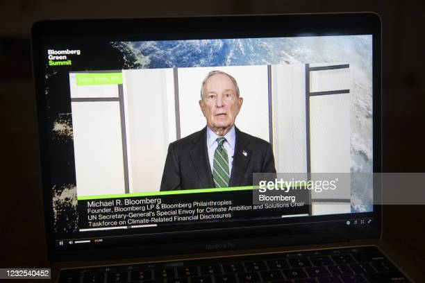 Michael Bloomberg, founder of Bloomberg LP, speaks virtually during the Bloomberg Green Summit on a laptop computer in Tiskilwa, Illinois, U.S., on...