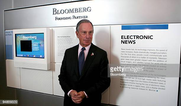 Michael Bloomberg, mayor of New York and founding partner of Bloomberg News parent Bloomberg LP, poses in front of the Bloomberg exhibit at the...