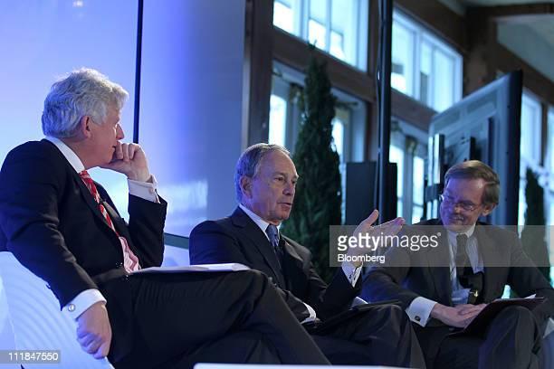 Michael Bloomberg mayor of New York City center speaks while Dave Miller former mayor of Toronto left and Robert Zoellick president of The World Bank...