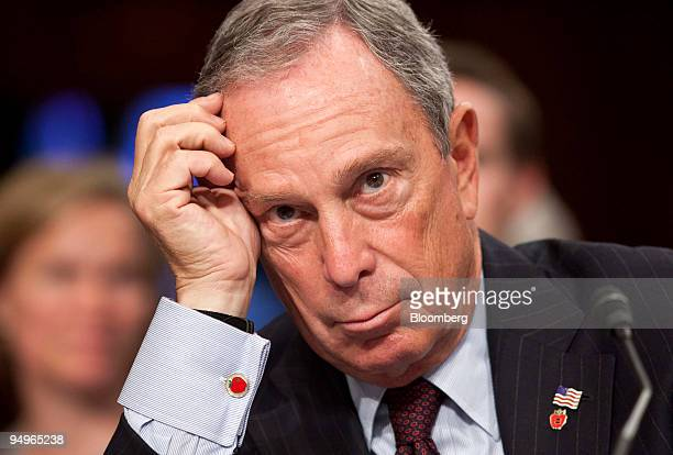 Michael Bloomberg mayor of New York testifies at the Senate Judiciary Committee confirmation hearing for Supreme Court nominee Sonia Sotomayor in...