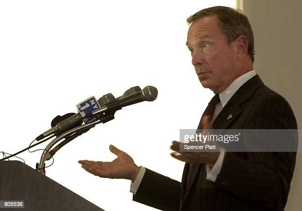 Michael Bloomberg, owner and founder of the media company Bloomberg LP, speaks at Columbia University April 30, 2001 in New York City. Bloomberg, a...