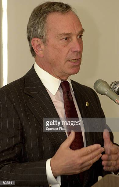Michael Bloomberg owner and founder of the media company Bloomberg LP speaks at Columbia University April 30 2001 in New York City Bloomberg a...