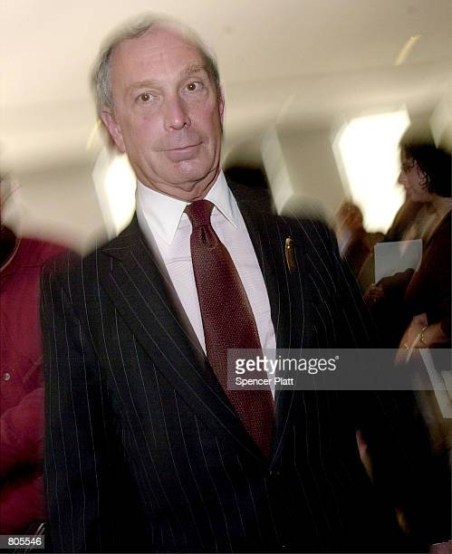 Michael Bloomberg owner and founder of the media company Bloomberg LP leaves Columbia University after speaking April 30 2001 in New York City...