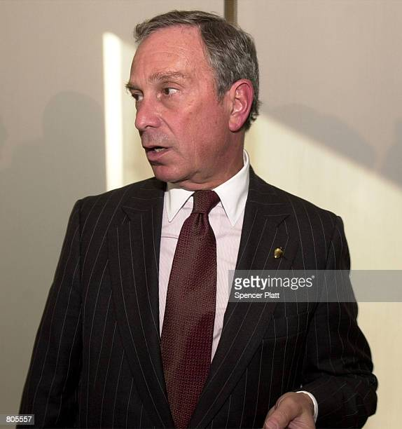 Michael Bloomberg owner and founder of the media company Bloomberg LP answers a reporter's question after speaking at Columbia University April 30...