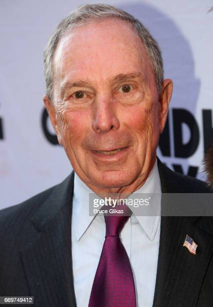 Michael Bloomberg poses at the opening night of the new musical based on the film Groundhog Day on Broadway at The August Wilson Theatre on April 17...