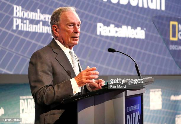 "Michael Bloomberg speaks at the ""Paris to Pittsburgh"" film screening hosted by Bloomberg Philanthropies and National Geographic at National..."