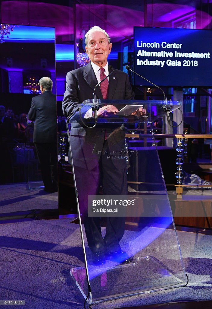 Michael Bloomberg speaks onstage during the Lincoln Center Alternative Investment Industry Gala on April 16, 2018 at The Rainbow Room in New York City.