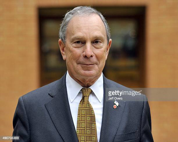 Michael Bloomberg the mayor of New York at a press conference in front of a portrait of Britains King George III following a City of London Economic...