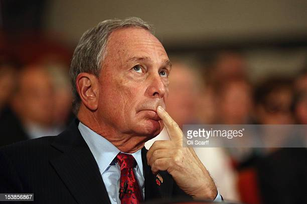 Michael Bloomberg the Mayor of New York City looks on before delivering his speech to delegates on the last day of the Conservative party conference...