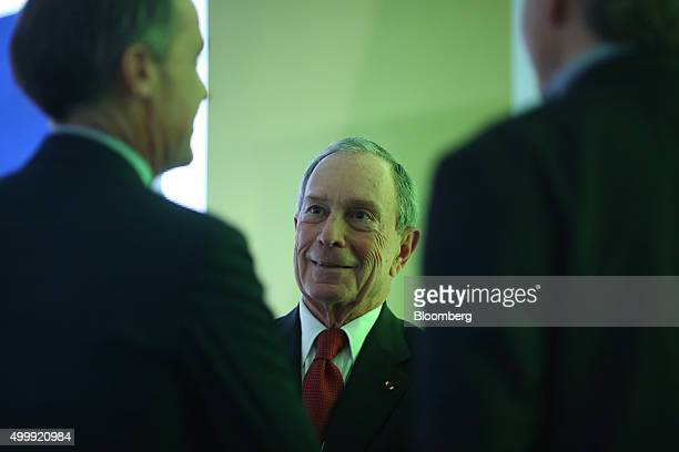 Michael Bloomberg United Nations special envoy for cities and climate change and founder of Bloomberg LP reacts ahead of a news conference at the...