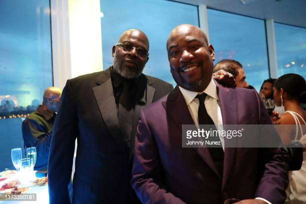 Michael Blue Williams and Shakim Compere attend the Treach Cicely Evans Wedding at Waterside Reception Hall on September 08 2019 in North Bergen New...