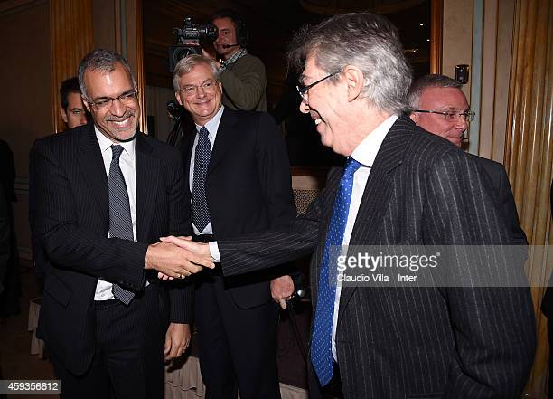 Michael Bolingbroke and Honorary President Massimo Moratti during FC Internazionale Milano Shareholders' Meeting on November 21 2014 in Milan Italy