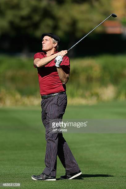 Michael Bolton plays the sixteenth hole during the third round of the Humana Challenge in partnership with the Clinton Foundation at La Quinta...