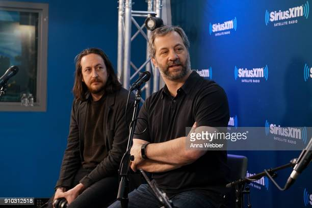 Michael Bonfiglio and Judd Apatow speak during the SiriusXM Town Hall With Judd Apatow Michael Bonfiglio The Avett Brothers Hosted By Kurt Loder at...