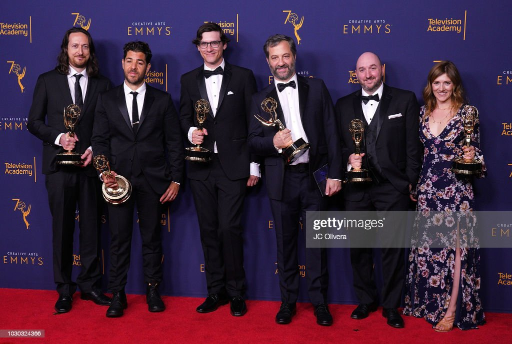 Michael Bonfiglio, Joe Beshenkovsky, Sam Fishell, Judd Apatow, Josh Church, and Amanda Glaze winners of the award for outstanding documentary or nonfiction special for 'The Zen Diaries of Gary Shandling' pose in the press room during the 2018 Creative Arts Emmy Awards at Microsoft Theater on September 9, 2018 in Los Angeles, California.